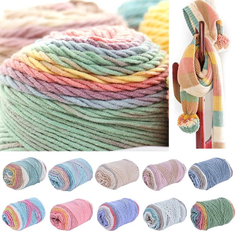 DIY Hat Knit Crochet Yarn Hand-woven Scarf Colorful Alpaca Wool Yarn