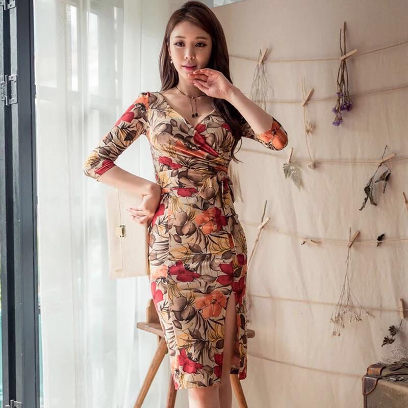 865267d9bf boho sexy elegant floral 3/4 bodycon dress(BVQ)