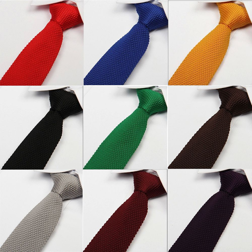 Neck Necktie Solid Men Knitted Skinny Fashion New Mens Plain Woven Tie Silver