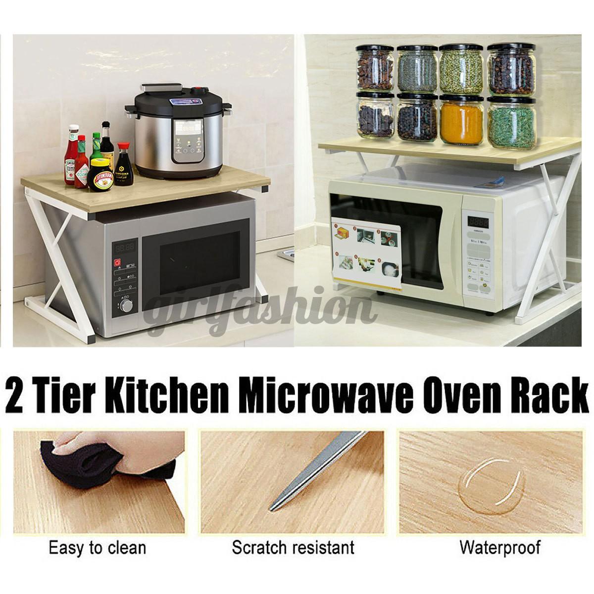 2 tier microwave shelf oven rack stand kitchen storage cabinet holder adjustable