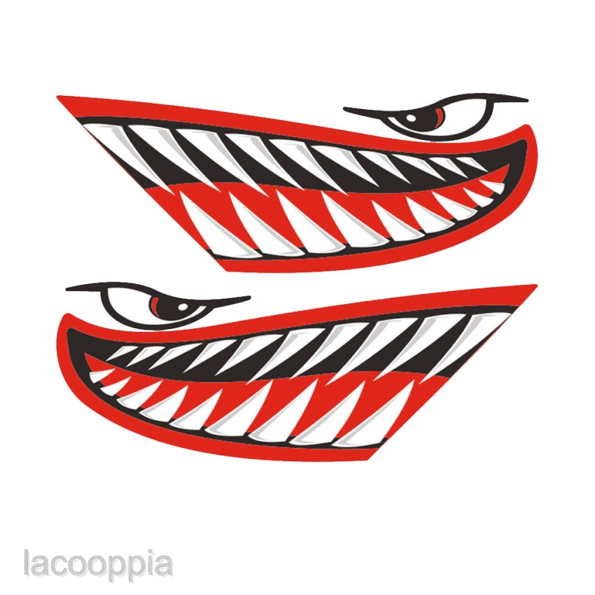 2X Shark Teeth Mouth Decal Stickers for Kayak Canoe Dinghy Boat