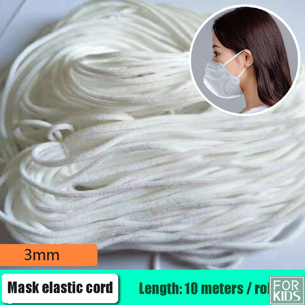 10m Round Elastic Band Face Mask Ear Ropes String Mask Cord Rope