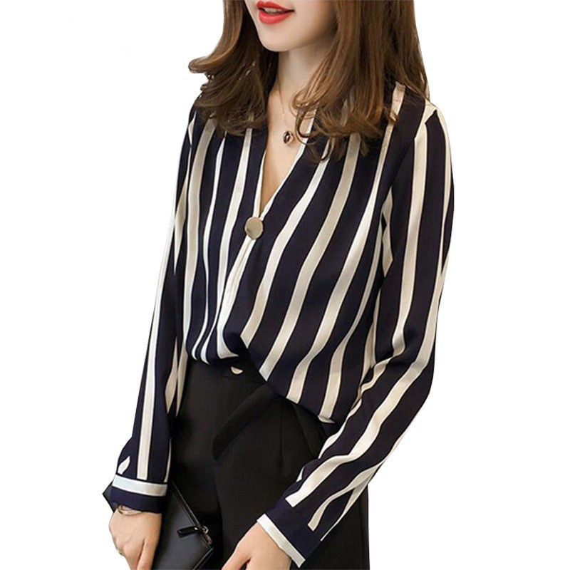 Women's Clothing Fashion Stripes Shirt Women Long Sleeve 2018 New Professional Ladies Temperament Office Chiffon Blouse Office Plus Size Tops Clients First