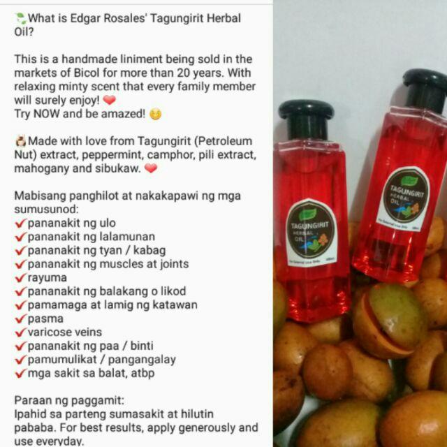 Edgar Rosales Tagungirit Herbal Oil 100mL Essential Oil