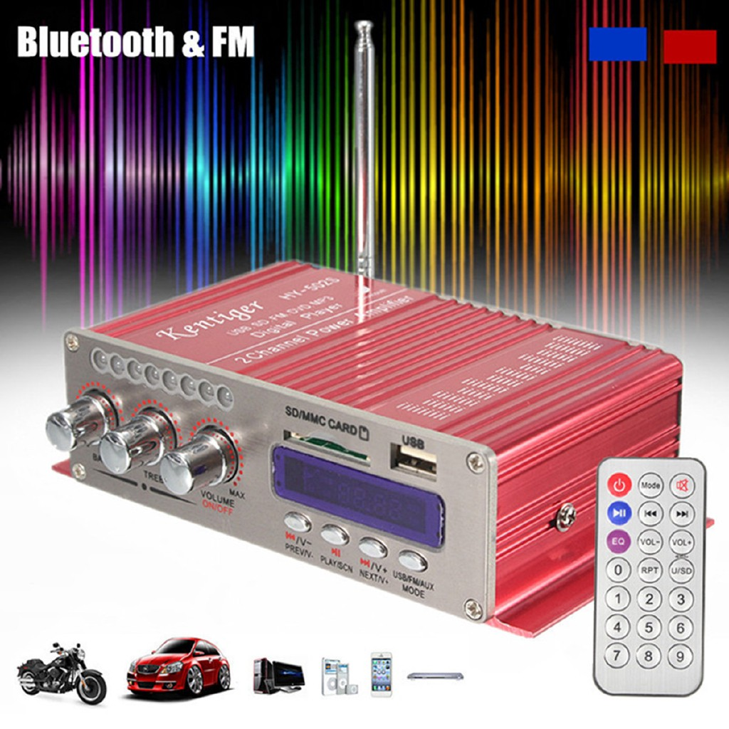 12V 100W Car MotorBike bluetooth FM HiFi Stereo MP3 Speaker Audio Amplifier