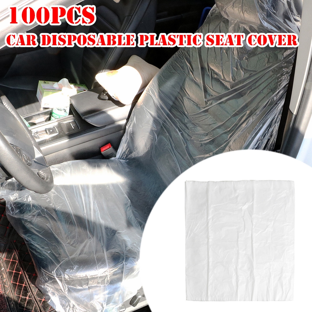 100Pcs Automotive Interior Disposable Seat-Mate Protection Transparent Seat Protective Covers For Pet Disposable Plastic Seat Covers