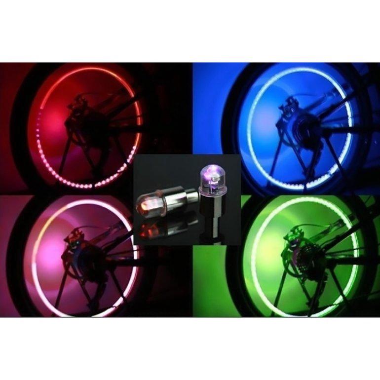 2pcs Coloful LED Flash Light for MTB Bicycle Camp Bike Valve Cap Tire Tyre Wheel