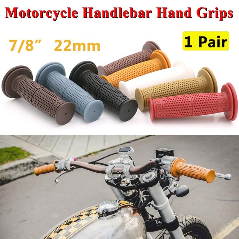 "1/"" 7//8/"" Motorcycle Classic Khaki Handlebar Rubber Hand Grip for harley Universal"