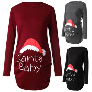 Maternity Christmas Dress.Langton Women S Print Christmas Side Ruched Long Sleeve Maternity Top Pregnancy Clothes