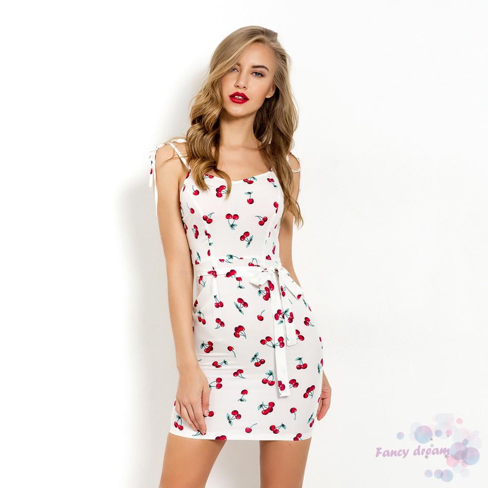 Women Summer Cherry Print Bandage Bodycon Evening Party Casual Short Mini Dress