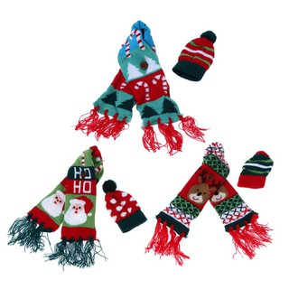 Christmas Scarf.Happy Wine Hold Bottle Cover Knitted Christmas Scarf And Hat Decor
