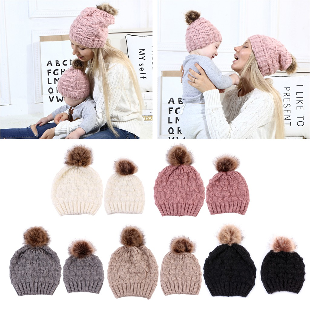 Infant Baby Parent-child Crochet Winter Hats Pom Pom Knitted Crochet 2Piece