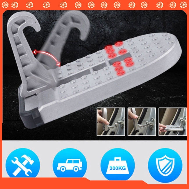 1pc Aluminum Car Doorstep Roof Ladder Foot Stand Door Latch Step Rooftop Pedal