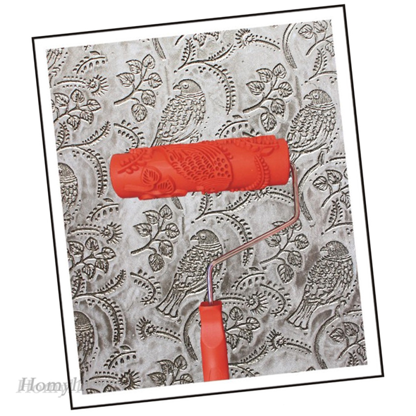 2x Flowers Birds Pattern Painting Roller with Handle Wall Decor 7inch #4