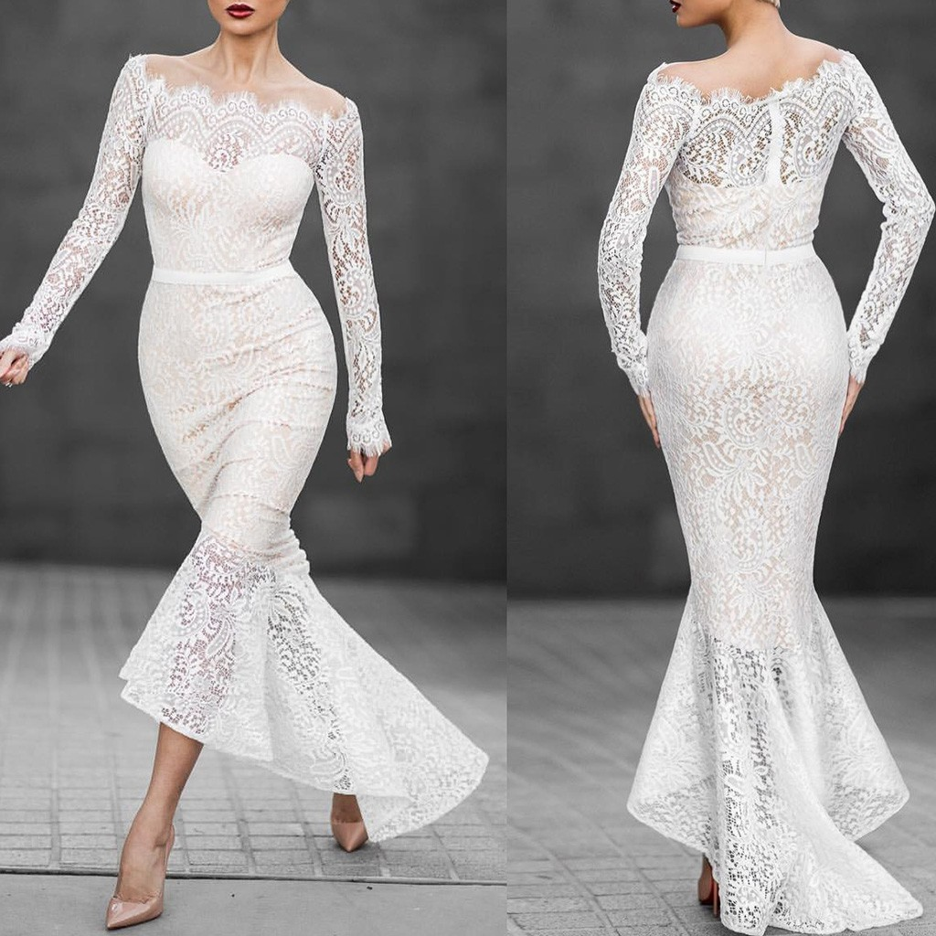 Simple Wedding Dresses In Philippines: Women Long Sleeve White Lace Evening Wedding Dress