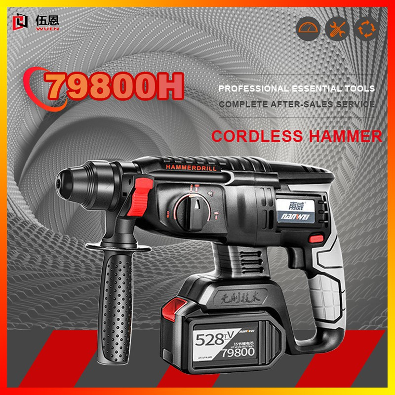 Hammer Cordless Hammer Drill Milwaukee Drill Rotary Hammer Strong Hammer Impact Drill Can Drill Cement Wall Rotary Cordless Drill 800w Hammer88v Brushless Cordless Drill Drill Cordless Rechargeable Led Cordless Accessories Screwdriver Hammer