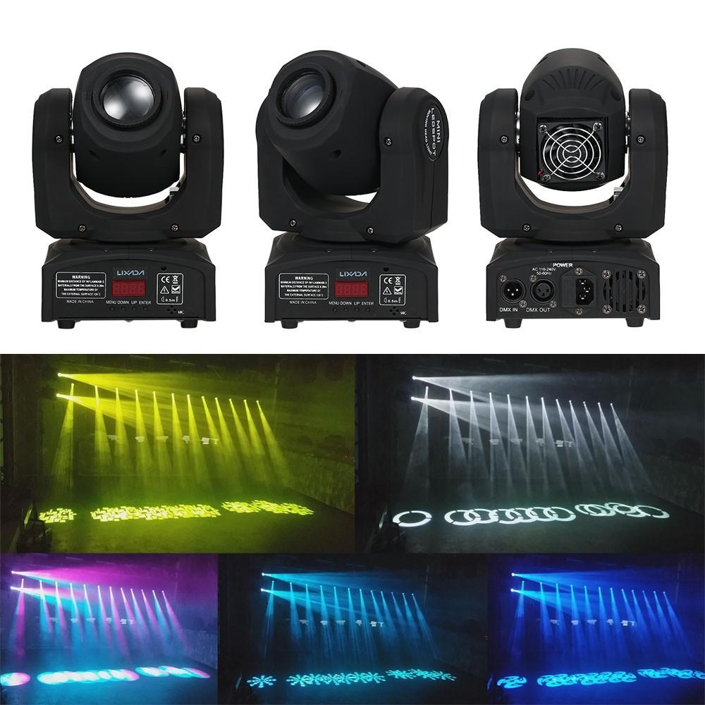 Lixada 30W DMX512 Sound Control Auto Rotating 9 / 11 Channels Rainbow 7 Col