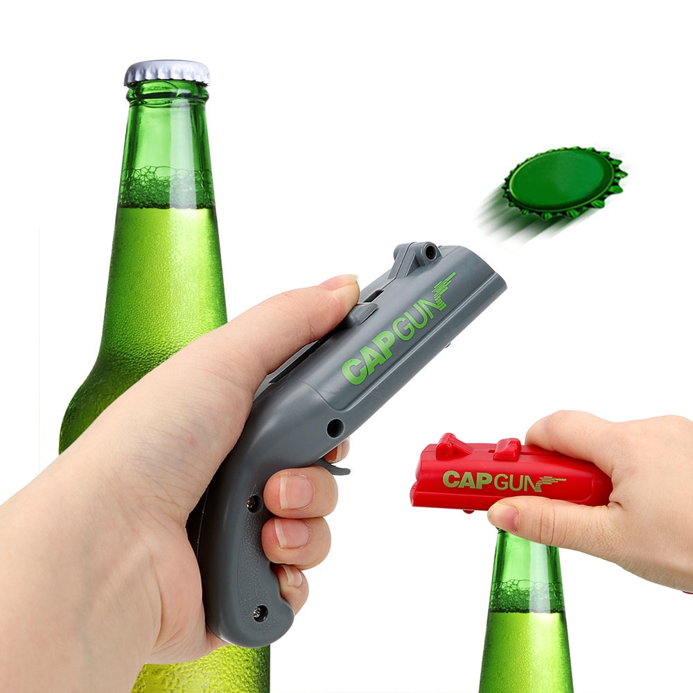Creative Firing Cap Gun Creative Flying Cap Launcher Bottle Beer Drink Opener