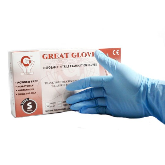 100 X DISPOSABLE POWDER FREE GLOVES LATEX FREE Blue, Large STRONG HIGH QUALITY CHOOSE COLOR AND SIZE
