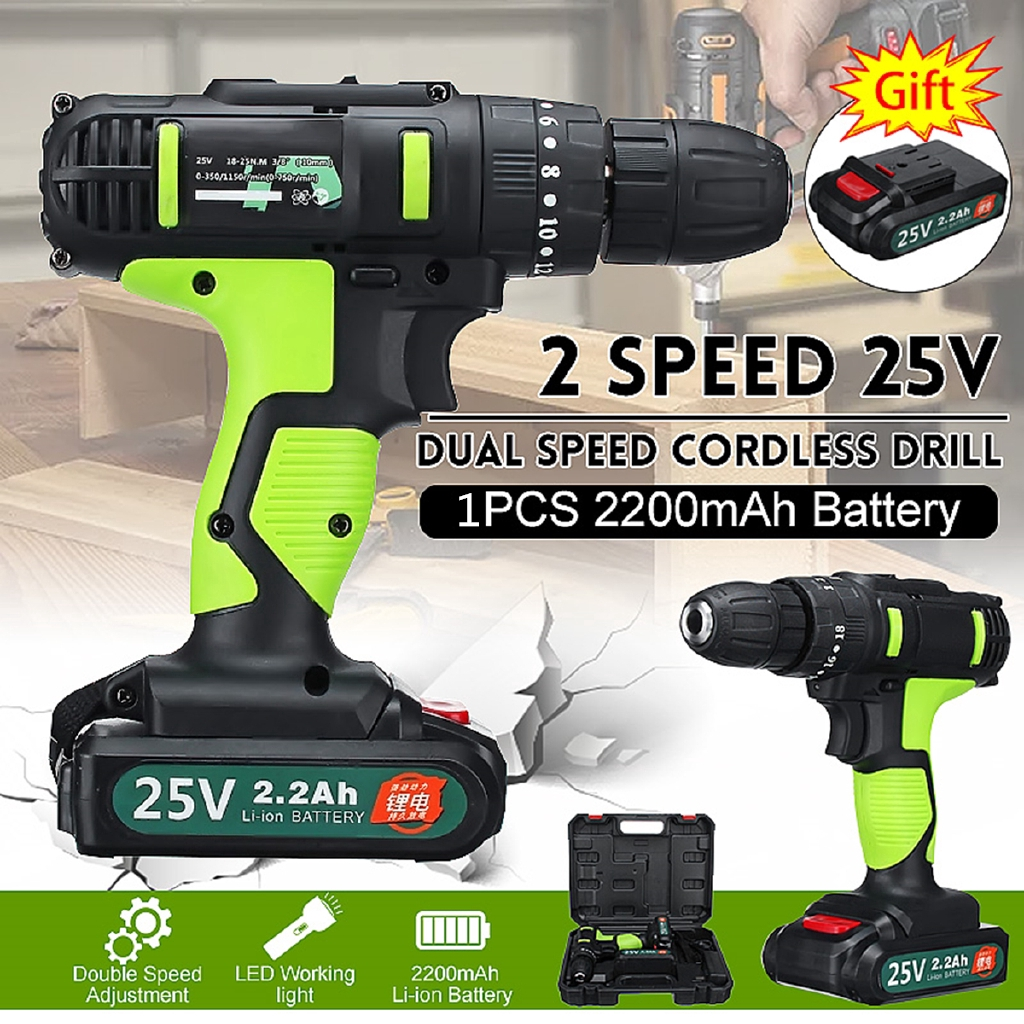25v Electric Cordless Impact Drill 3 8 Driver Screwdriver W Li Ion Battery Shopee Philippines