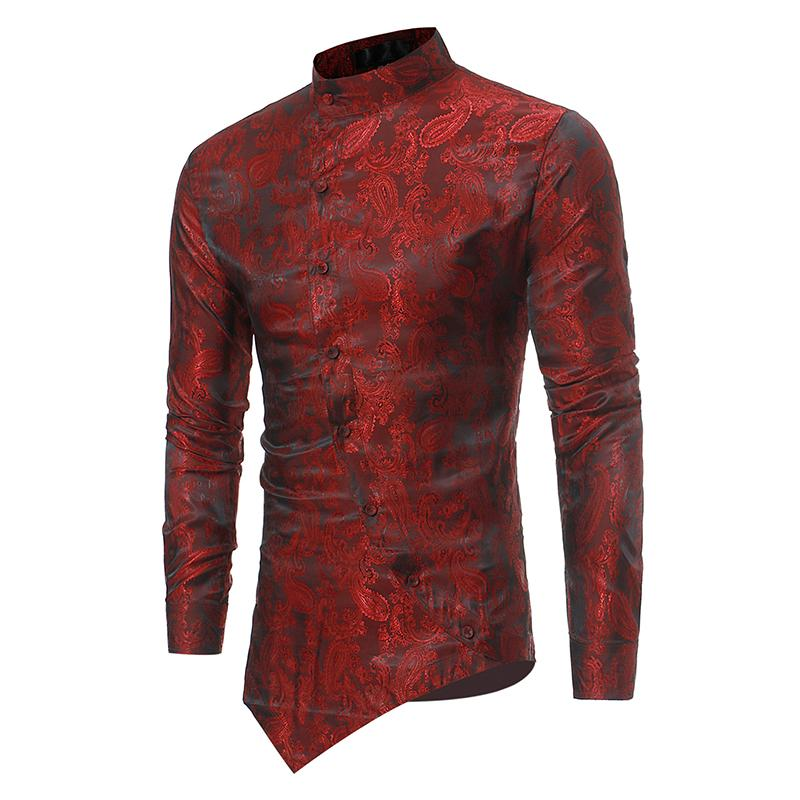 2019 Mens African Ethnic Dashiki Long Sleeve Button Down T-Shirt Thobe Shirt Top
