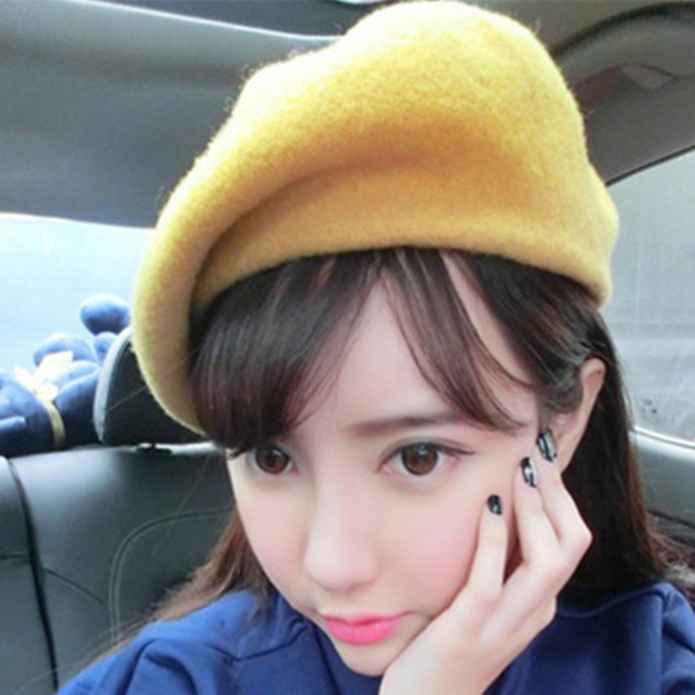 88492342f Solid Color Women's Girl's Beret French Artist Warm Wool Winter Beanie Hat  Cap