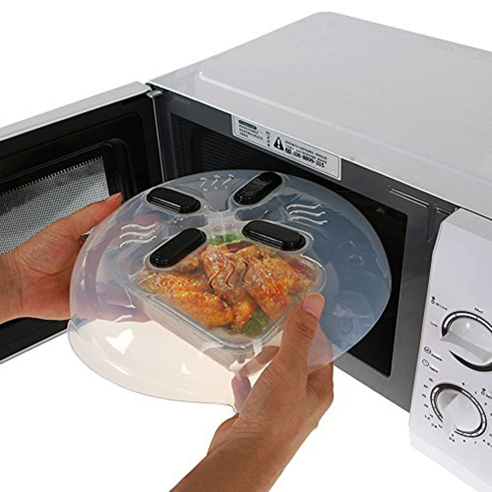 Kitchen Microwave Plate Lid Dish Food Cover Splatter Guard Steam Vent Window