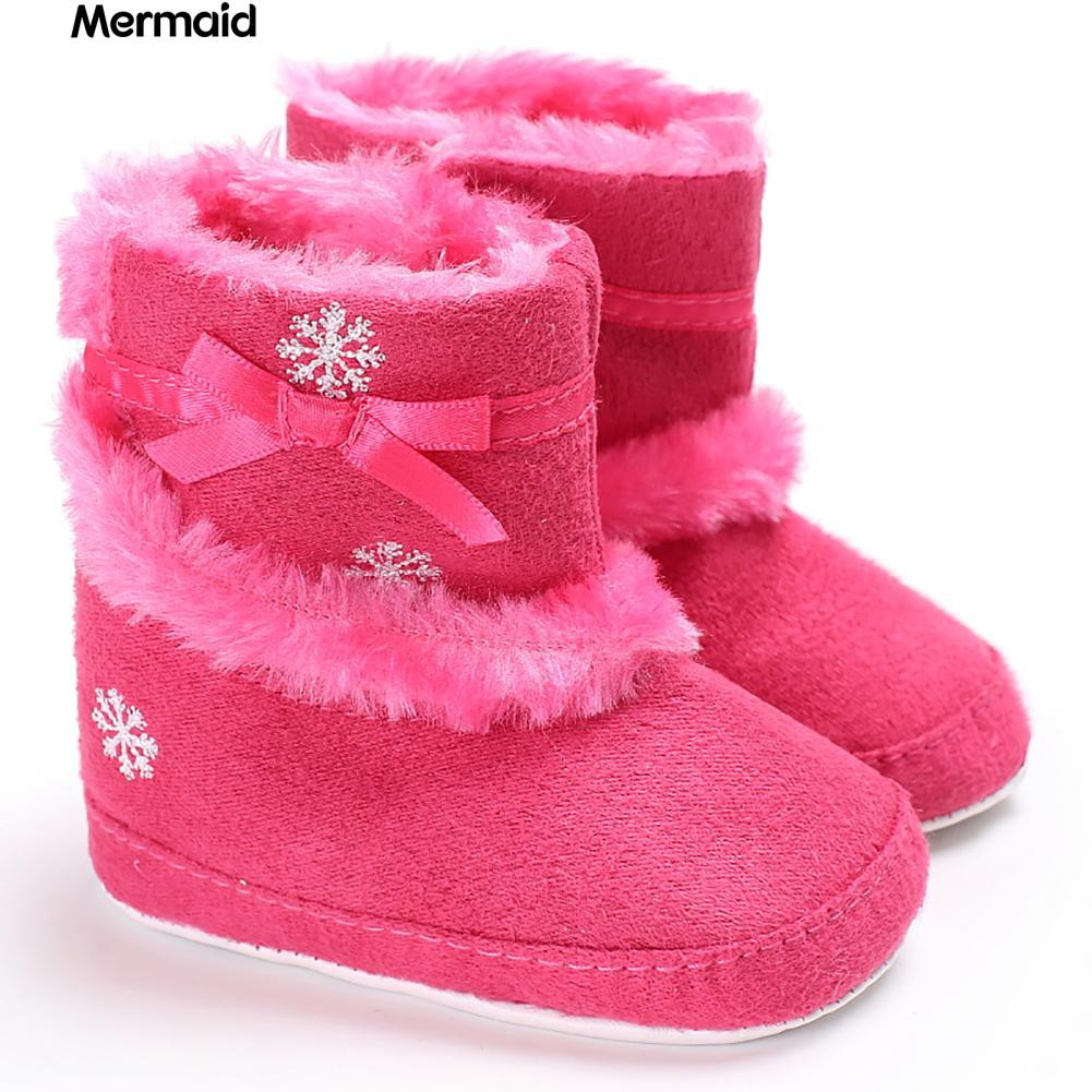 Christmas Boots For Girls.Infant Baby Girls Faux Fur Fashion Shoes Snowflake Christmas Boots