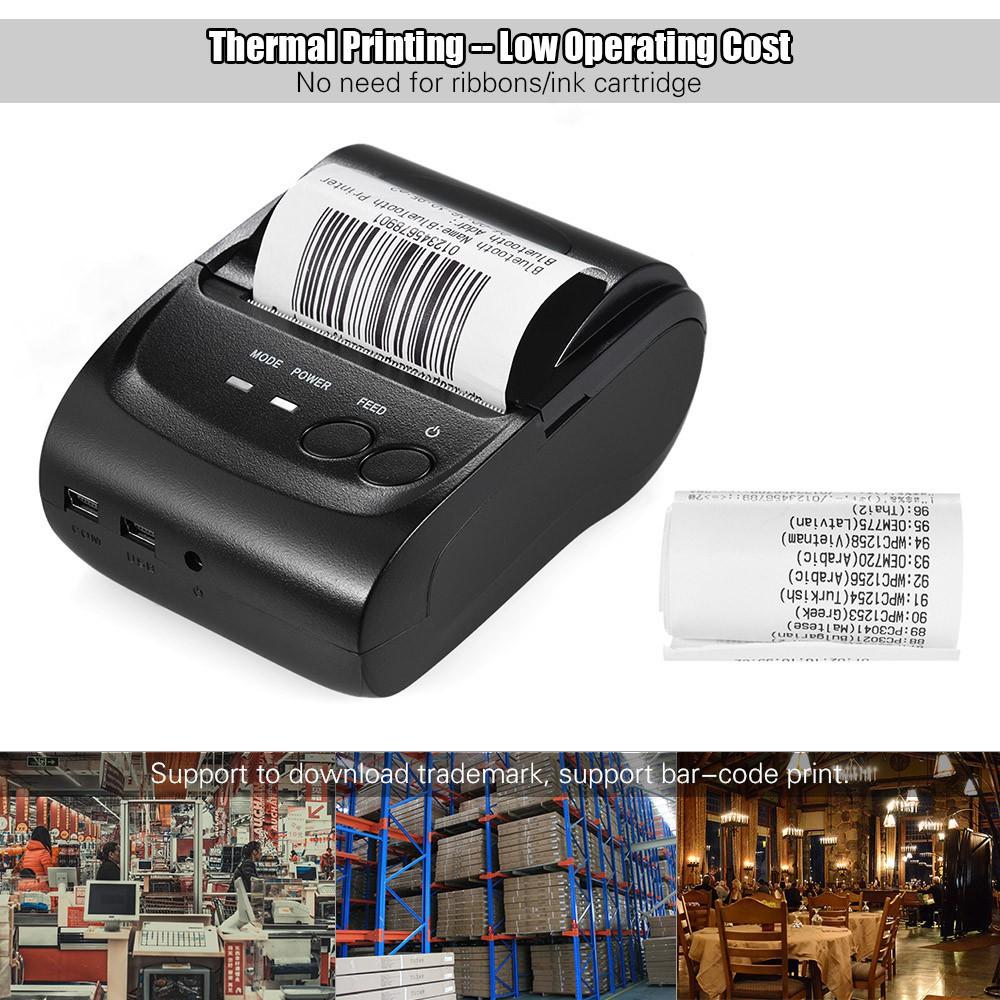 POS-5802DD Mini Portable Wireless USB Thermal Printer Receipt Ticket POS  Print