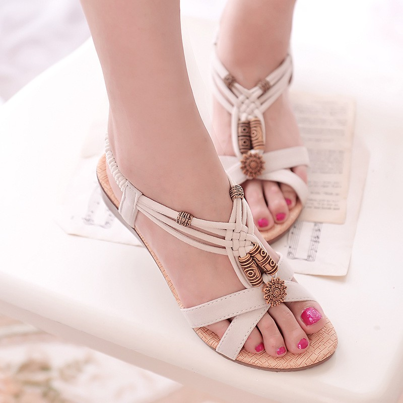 Women Boho National Style Flat Flip Flops Sandals Summer Weave Beach Shoes UK