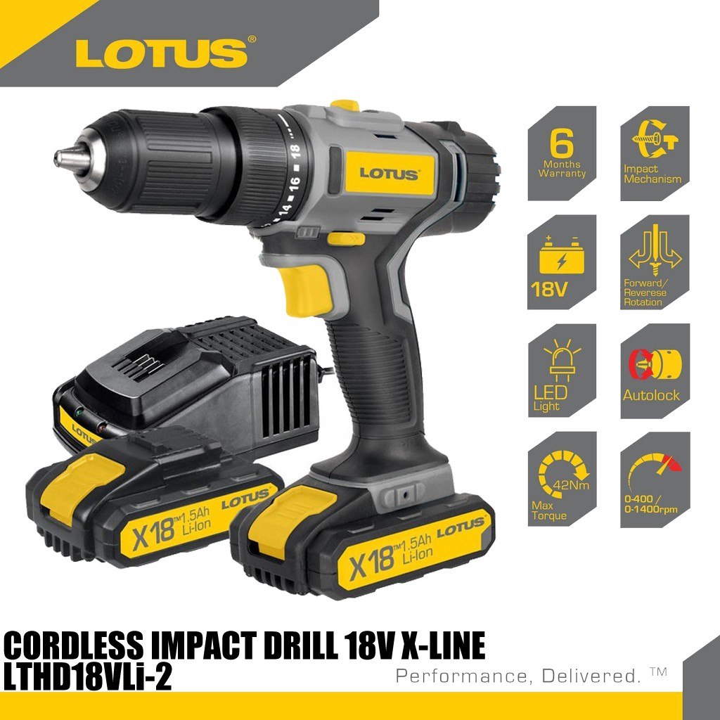 Lotus • LTHD18VLI-2 • Impact Drill with 2pcs Battery & 1 Charger