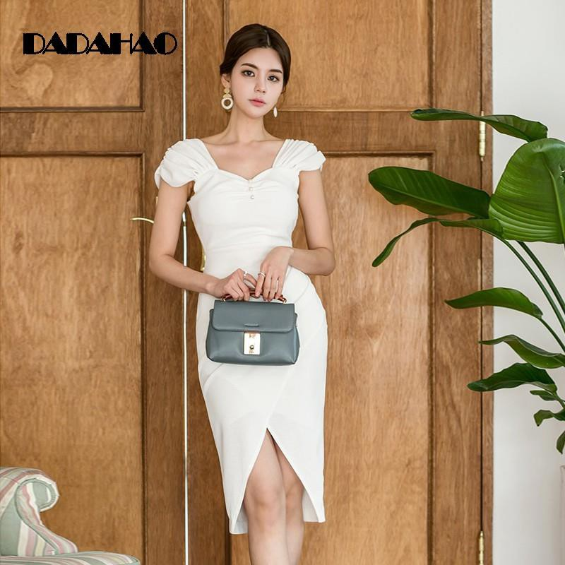 2038a8bd0ffdd mature elegant dress v-neck sleeveless dress slit skirt wais