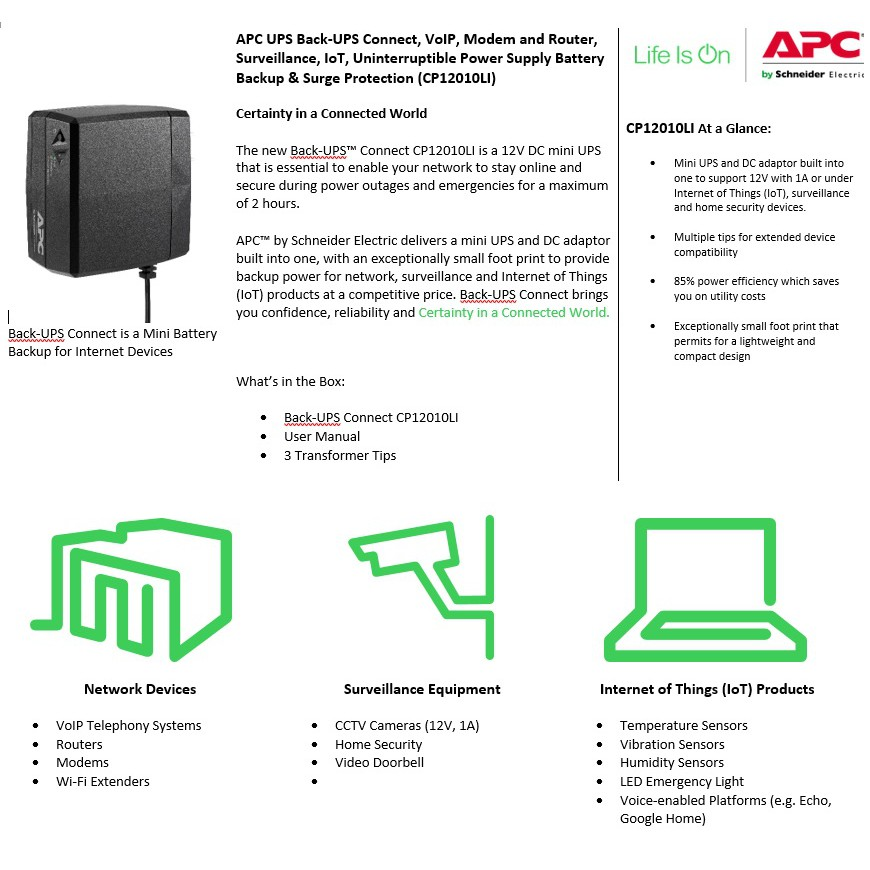 APC CP12010LI 12V DC Mini UPS | Shopee Philippines