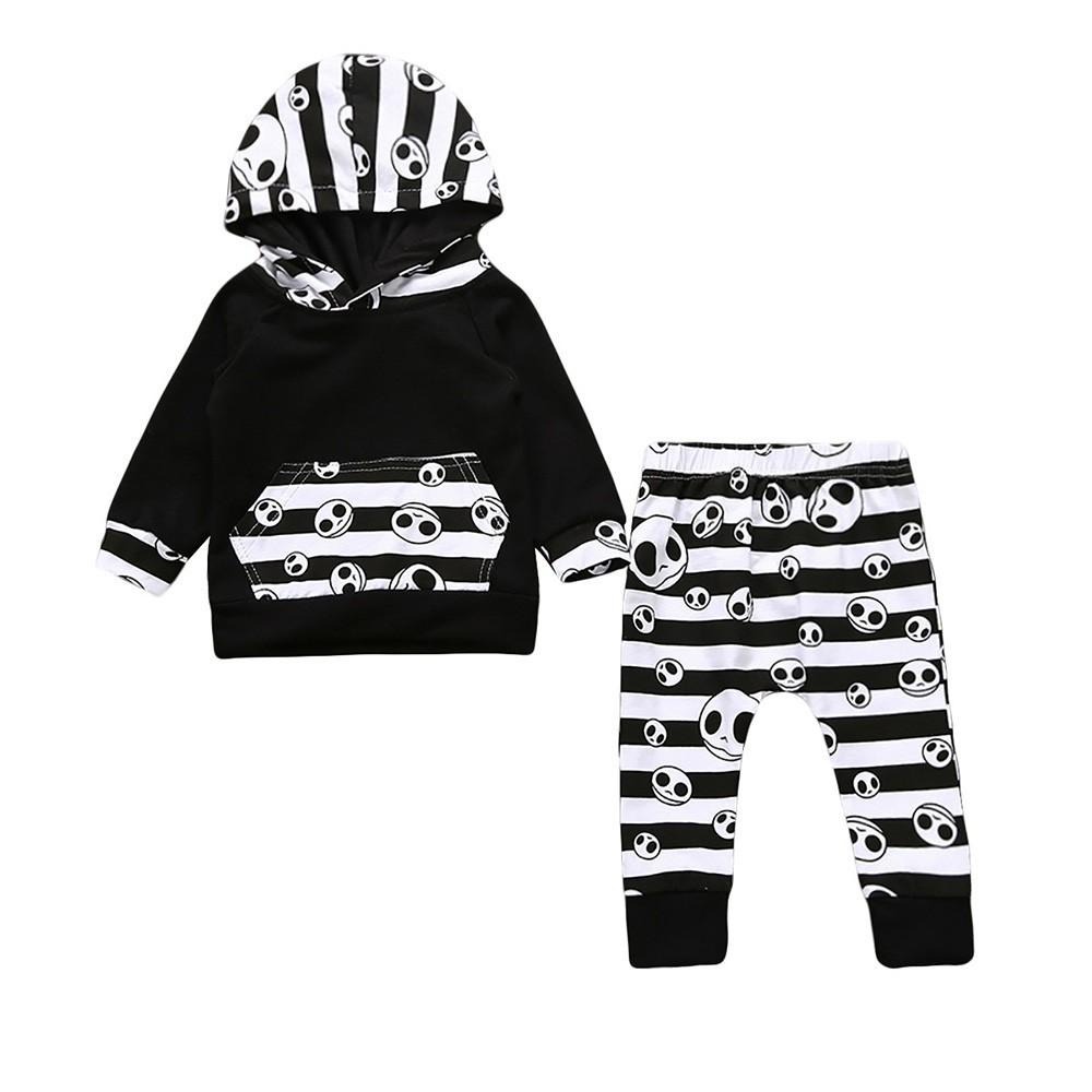 Toddler Kids Baby Boys Halloween Cartoon Hoodie Tops+Geometry Pants Outfits Set