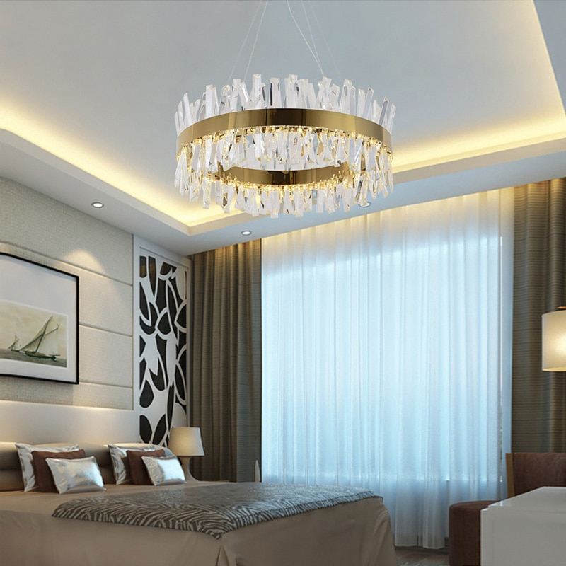 Fkl Modern Round Crystal Chandelier For Dining Room Rectangle Design Kitchen Island Lighting Fixture Shopee Philippines