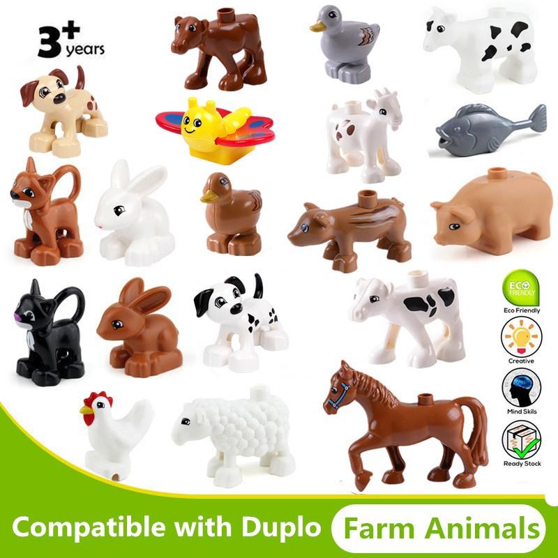 Animals Bricks Zoo Horse Penguin Farm Ocean Duplo Building Blocks Compatible Toy
