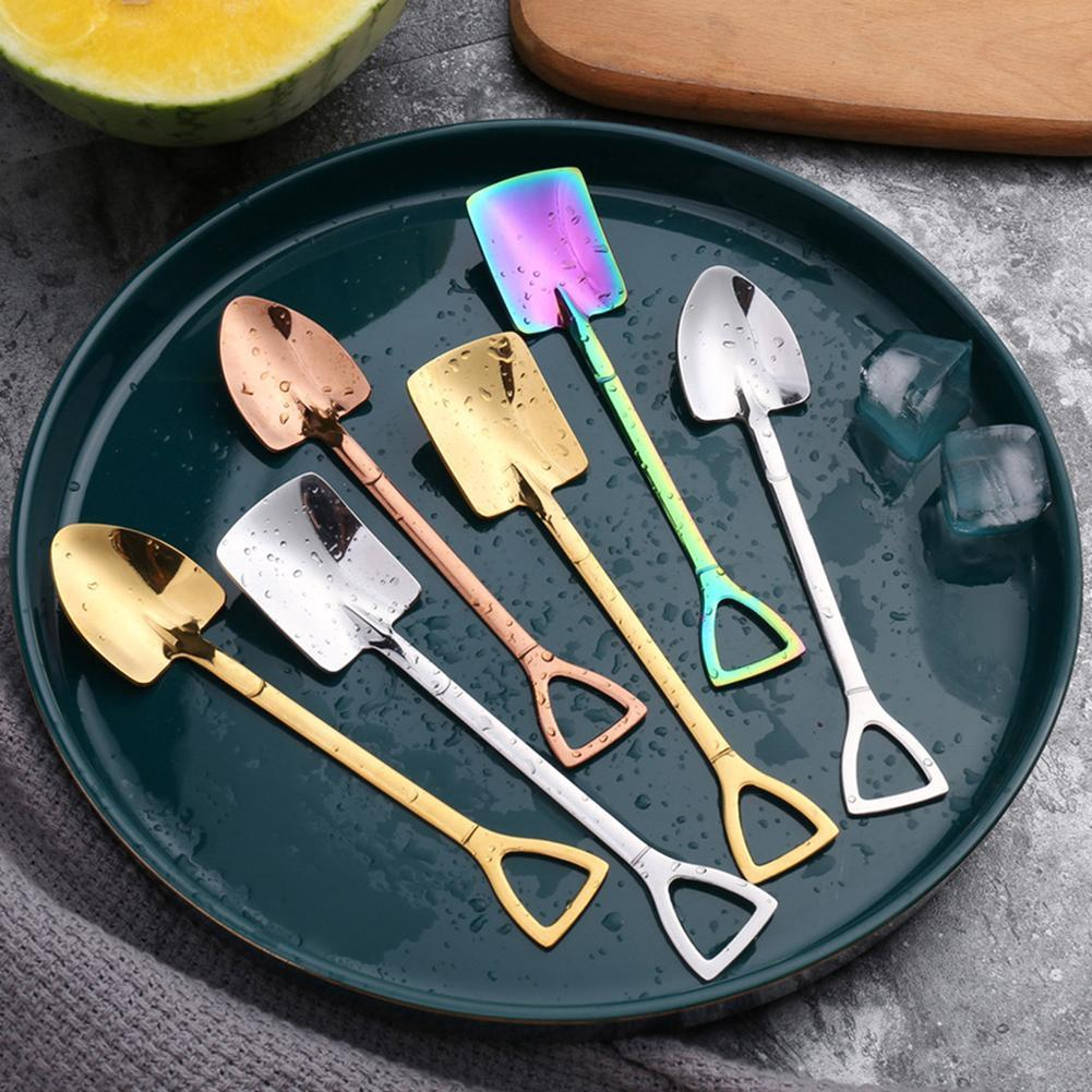 304 Stainless Steel Iron Shovel Spoon Coffee Ice Cream Spoon Engineering  Shovel Shaped Retro Cute Square Cup Spoon | Shopee Philippines
