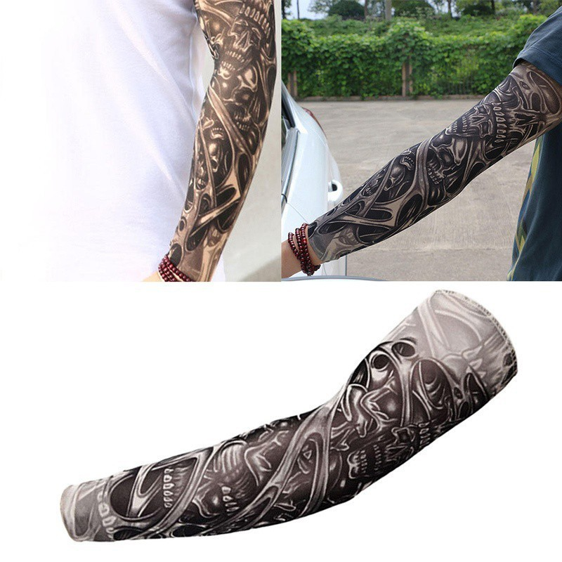 Temporary Tattoos Creative New Temporary Tattoos 6pcs Skull Pattern Tattoo Fake Arm Sleeves & Cuffs Kit Women & Men Fashion Style Tool Beauty & Health