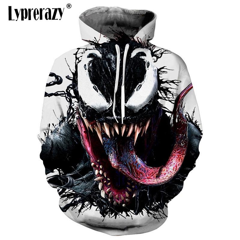 Venom Spider-man Mens Womens Hoodies Fashion Tops Thin Funny Pullover Sweatshirt