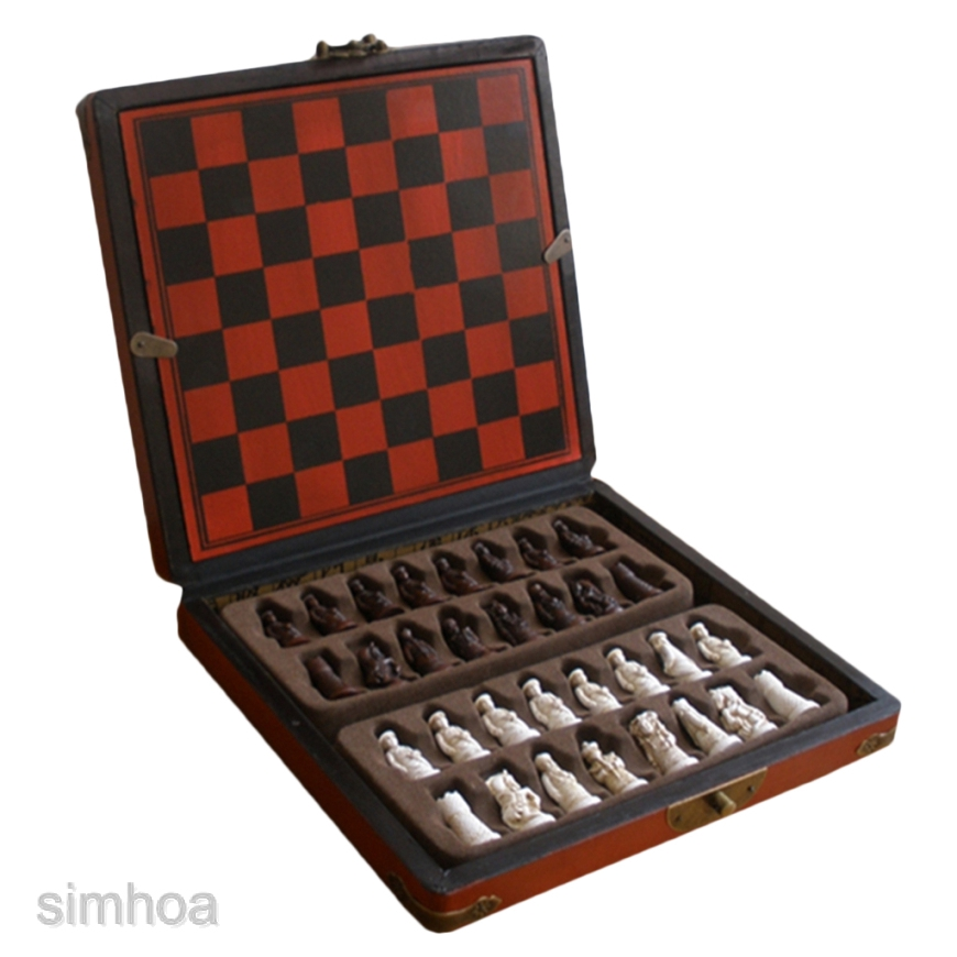 Set Antique Chinese Chess Wooden Table