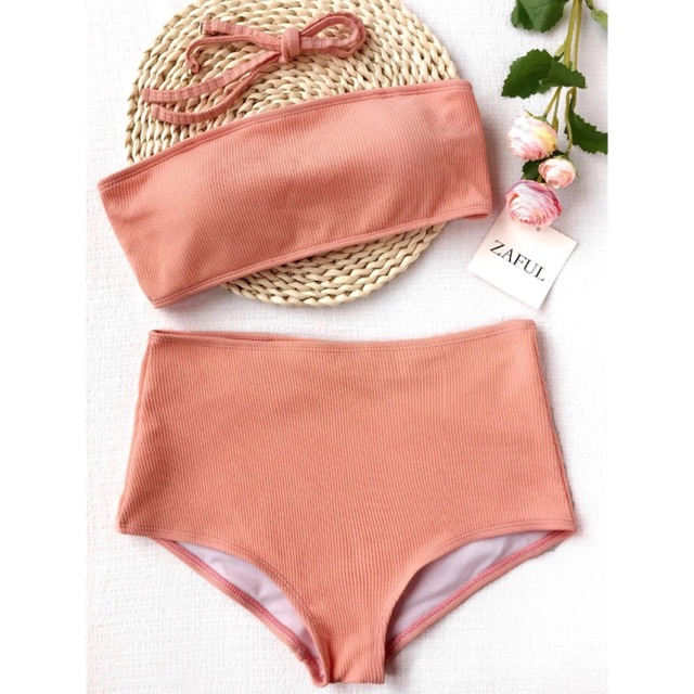 6cd4ff2b413f4 Zaful Ribbed Two Piece High Waist Bikini Swimwear