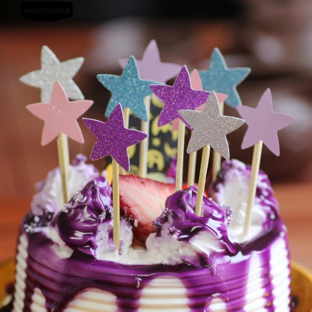 10pcs Cake Toppers Glitter Stars Banners Cake Decor Birthday Party Supplies