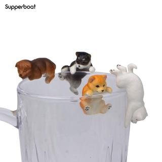 MINI PVC PUG DOG FIGURINE PENDANTS ON CUP RIM DIY LANDSCAPE INDOOR DESKTOP DECOR