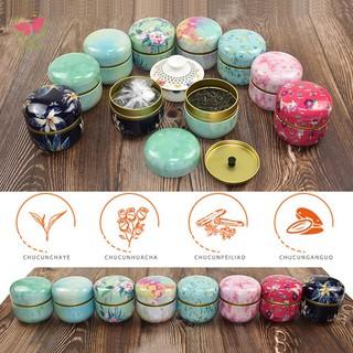 Multifunction Chinese Style Tea Caddies Round Metal Tea Box Jar with Lid