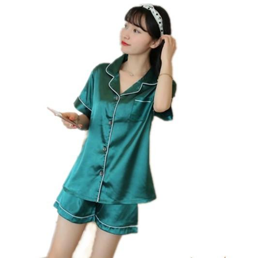 Silk Pajamas Eyelash short Sleeve Sleepwear Suit  ba013a714