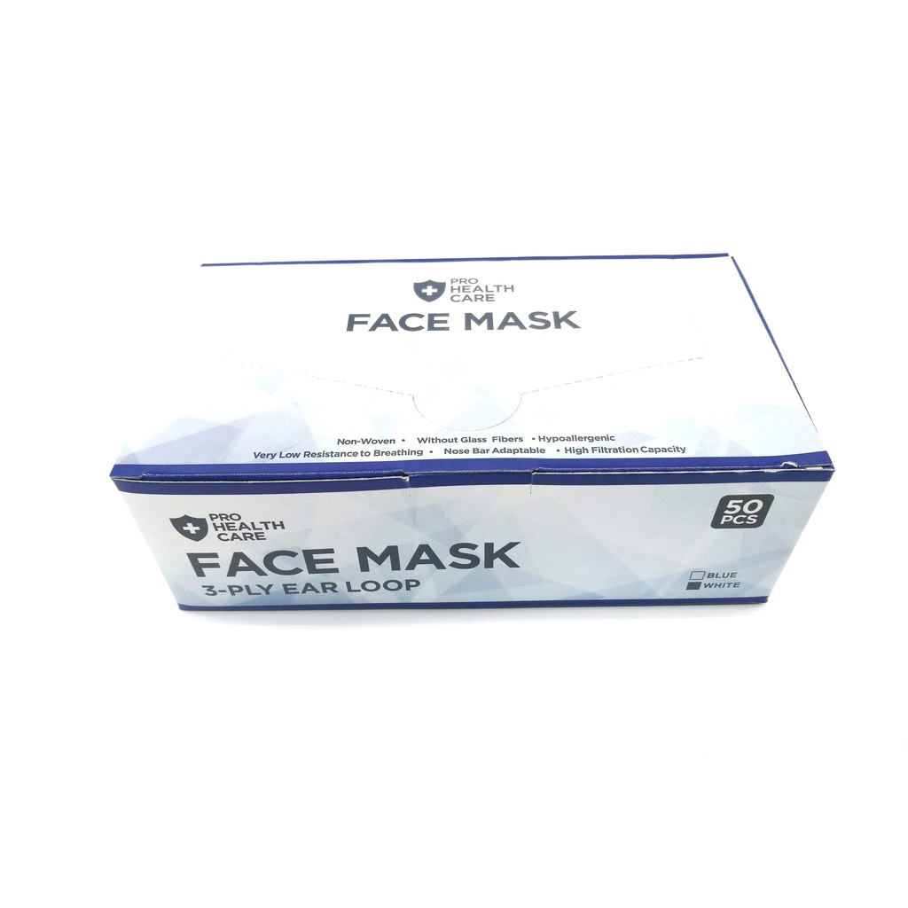 Care 3boxes Face White Prohealth 150pieces 3-ply Dust Surgical Disposable Color Earloop Mask