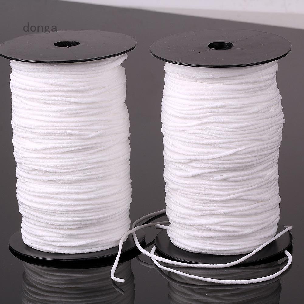 Donga Uk 10m 3mm Elastic Band Round Sewing Rope White Cord Diy