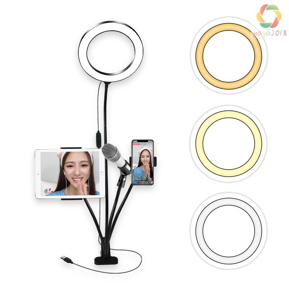 YouTube 12 Selfie Light Ring Ring Light with Universal Hose and 360/° Adjustable Phone Holder and Ball Head VLOG 3200K-5600K LED Ring Light for Makeup Live Broadcast Video Production