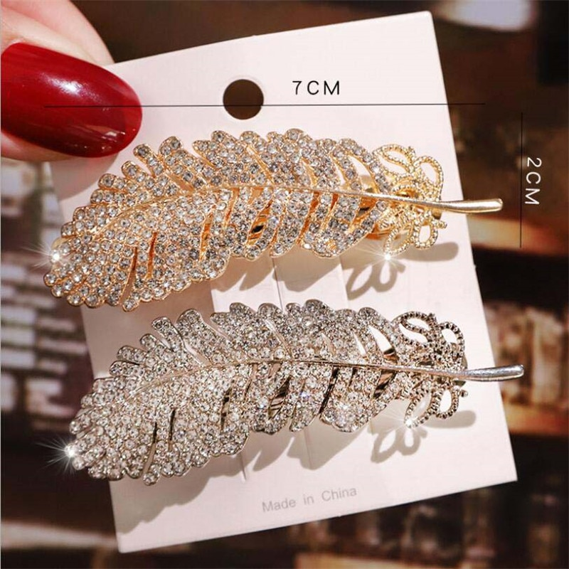 Women Hair Clips Crystal Leaf Hairpins Barrettes Hair Jewelry Accessories