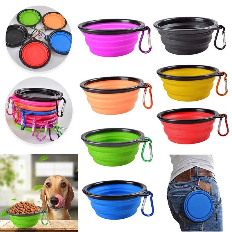 Portable Dog Water Bowl >> Silicone Collapsible Travel Silicone Portable Pet Food Dog Water Bowl Colorful